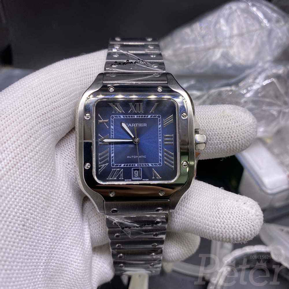 Cartier high grade silver case blue dial 38.5mm WT180
