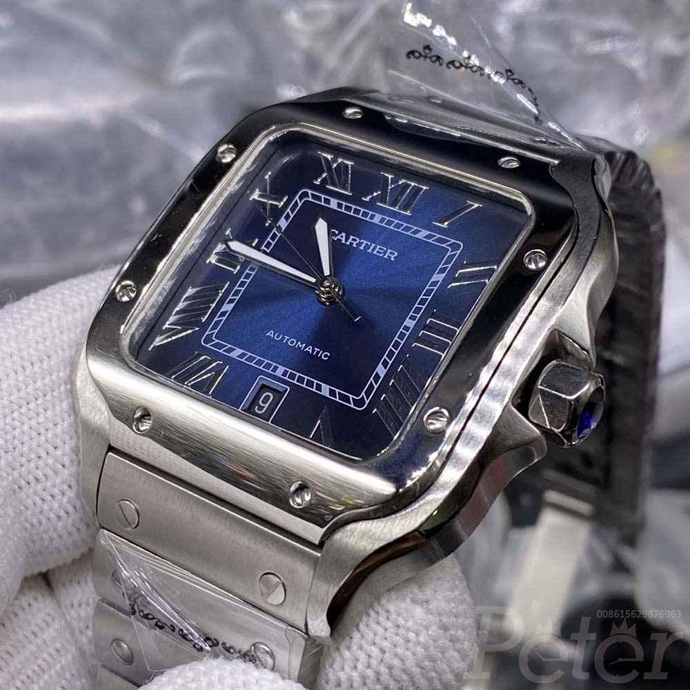 Cartier high grade silver case blue dial 38.5mm WT180