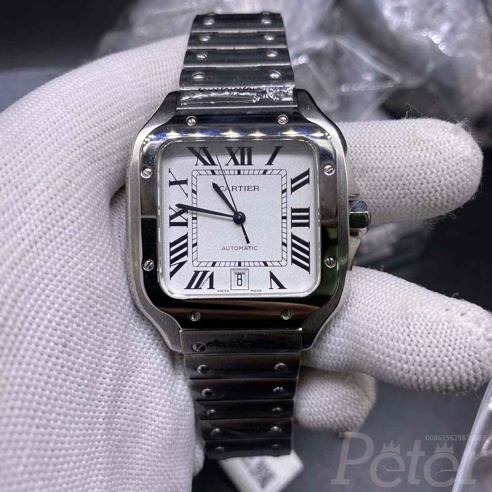 Cartier santos silver/white 38.5mm TW factory WT180