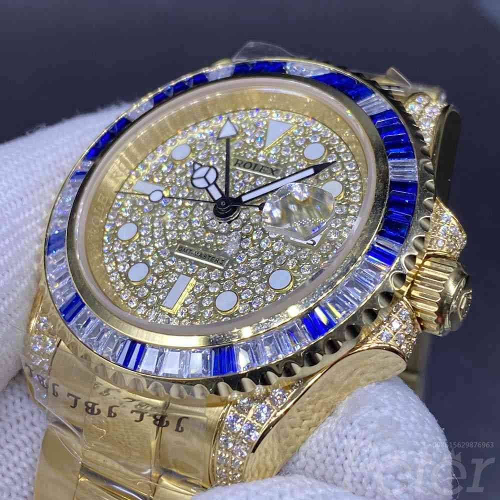 GMT diamonds face gold case 40mm automatic AAA MH060