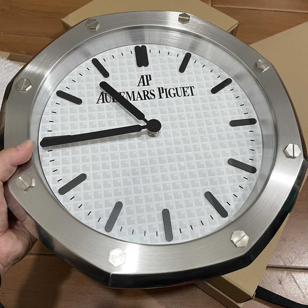 AP wall clock silver/white battery movement 34x5cm