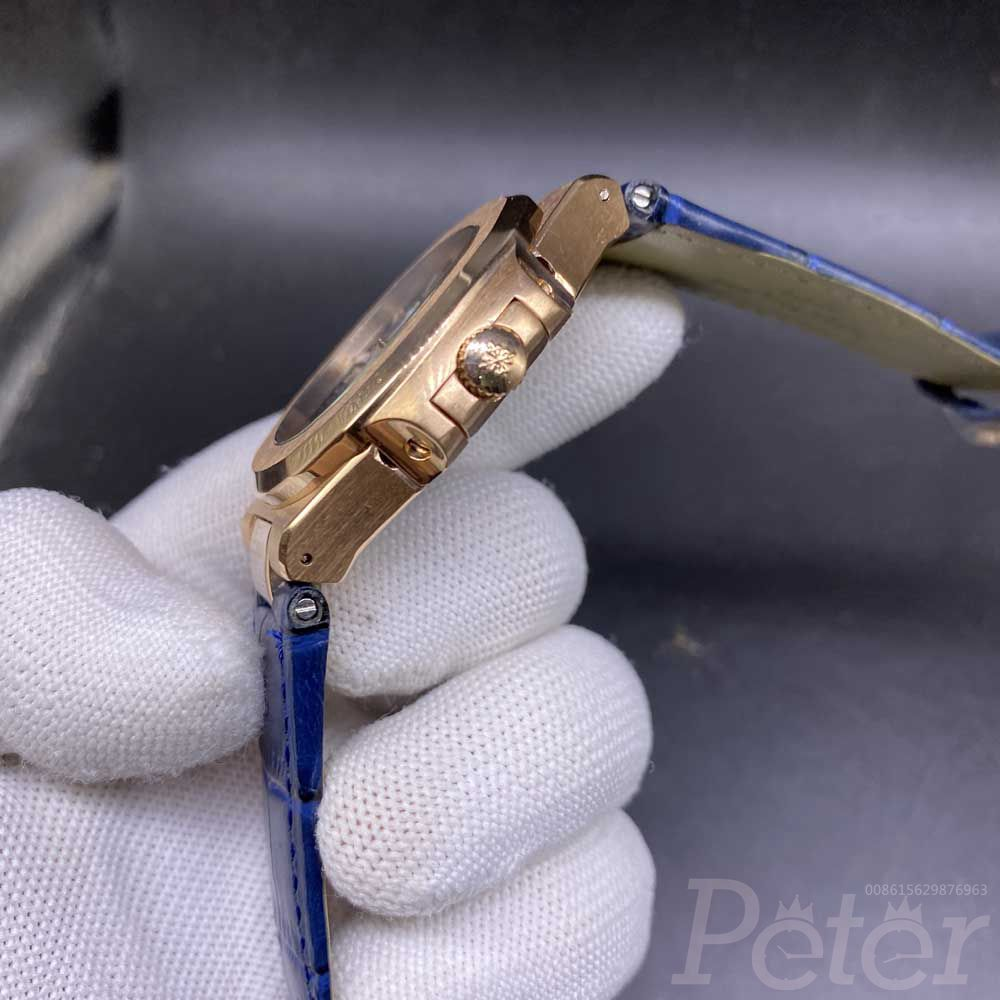 Patek rose gold with blue dial AAA hands-winding Z048