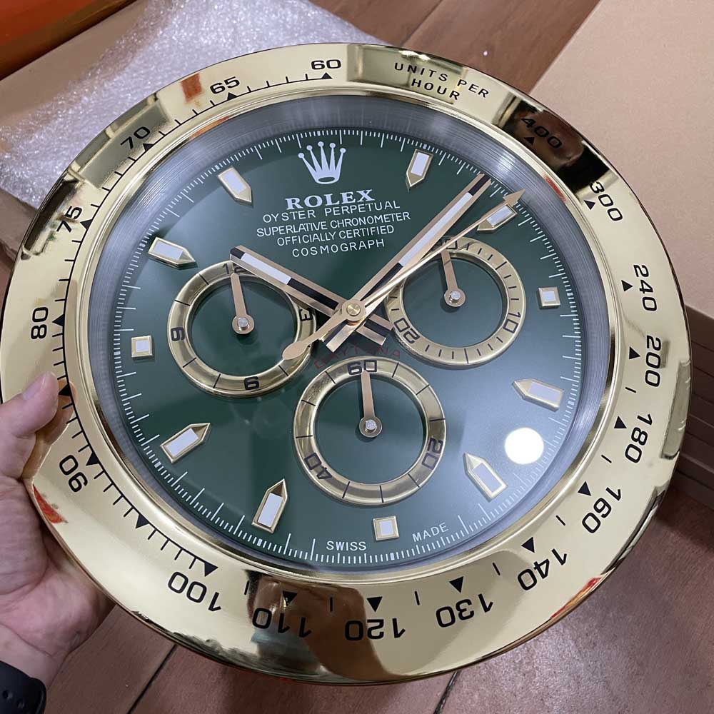 Daytona clock gold case green dial 34cm