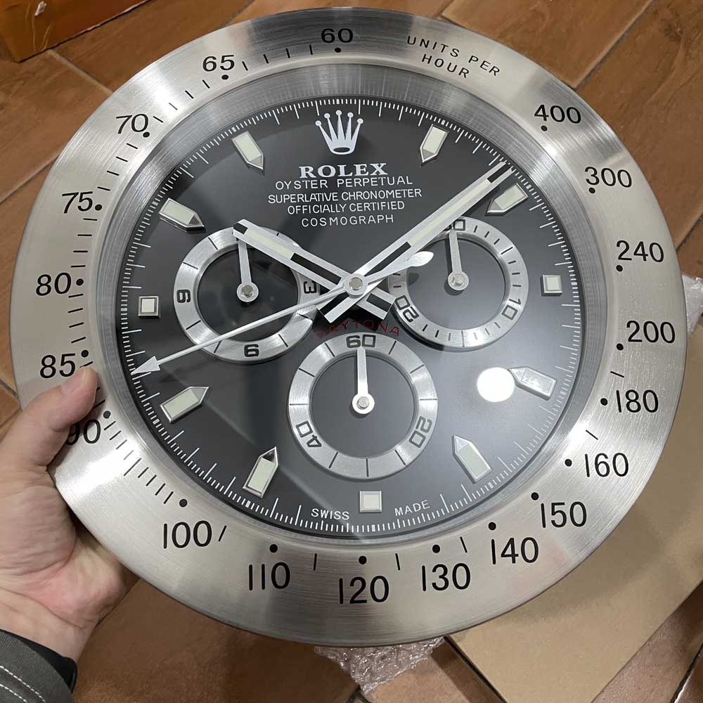 Daytona wall clock silver/black battery movement 34cm
