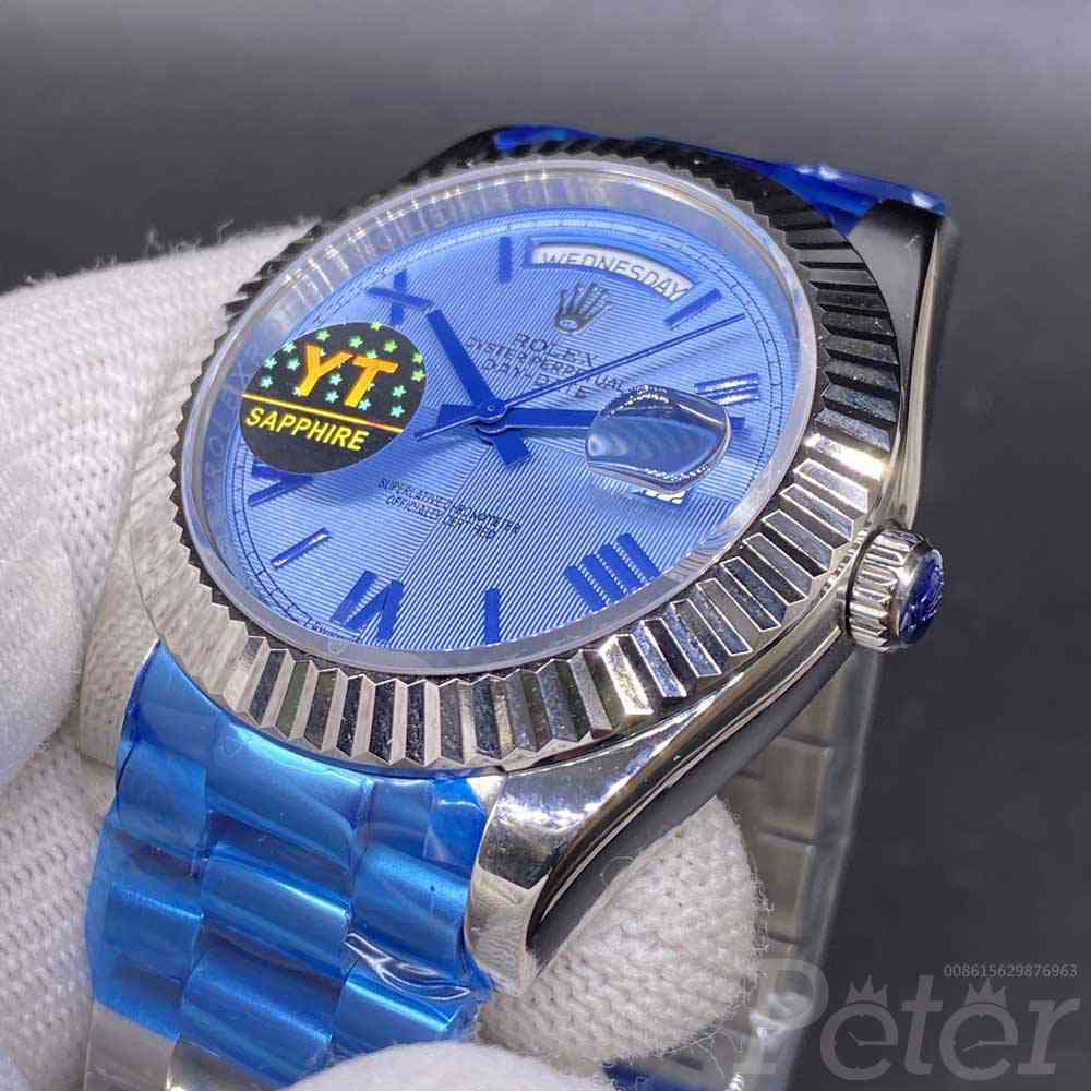 DayDate 41mm AAA+ silver case blue dial roman numbers president band men watch YT034