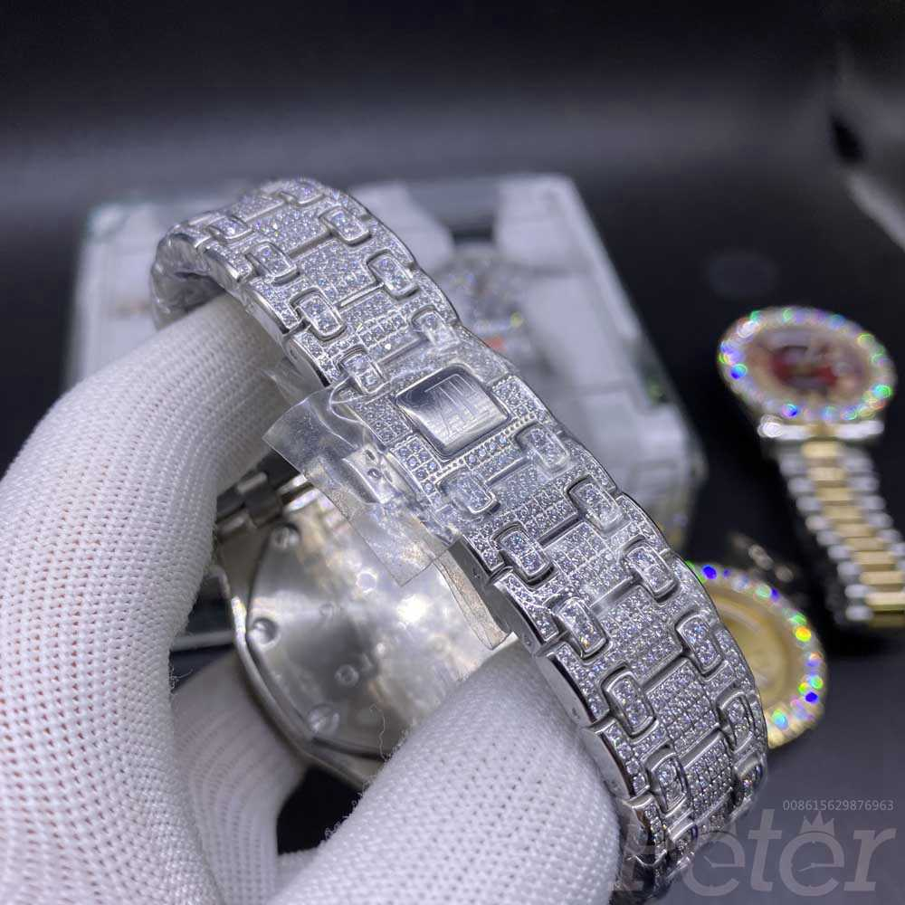 AP full iced out silver 42.5mm quartz stopwatch BL160