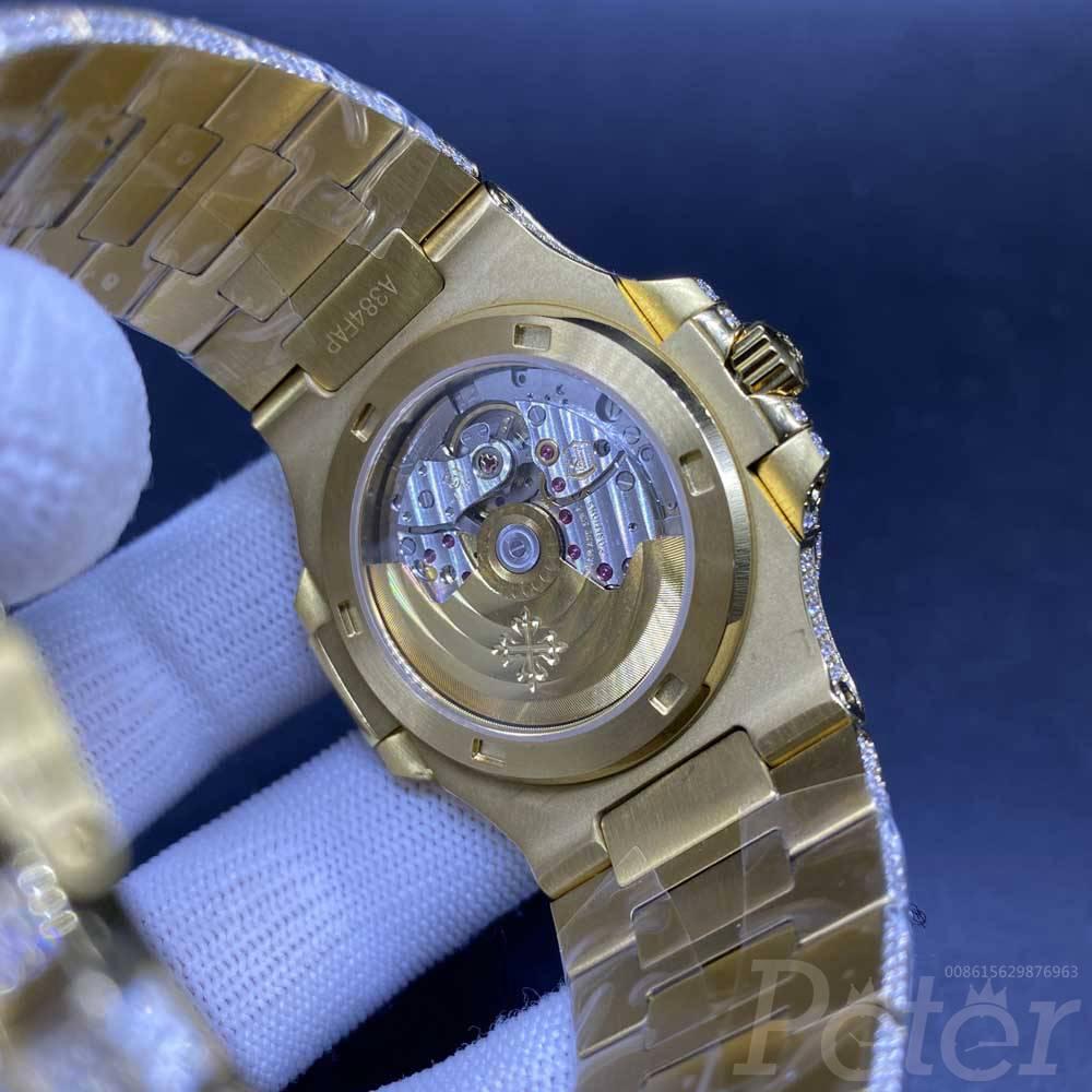 Patek iced out yellow gold swarovski diamonds bustdown stones watch WT285