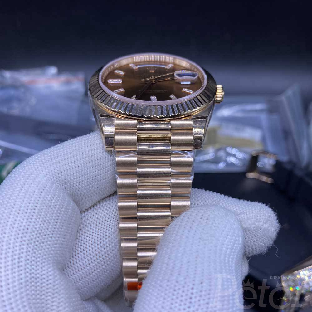 DayDate EW factory 3255 rose gold case with brown dial 39mm WT140