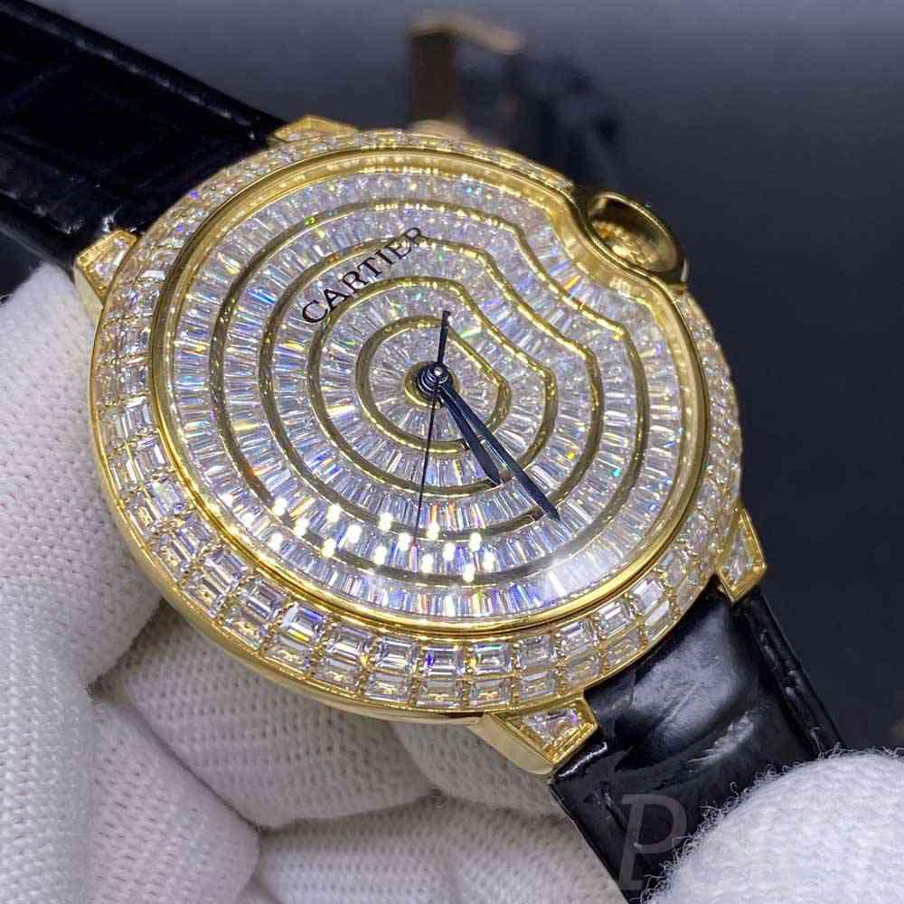 Cartier Swiss diamonds yellow gold case 42mm automatic men shiny watch black leather XD195