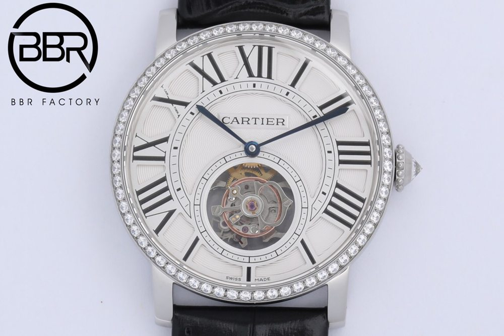 Cartier BBR2021 real tourbillon silver case black leather WTxxx