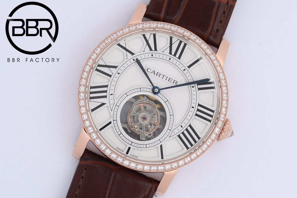 Cartier BBR2021 HPI00593 Real tourbillon 9452MC 40mm rose gold case brown leather WTxxx