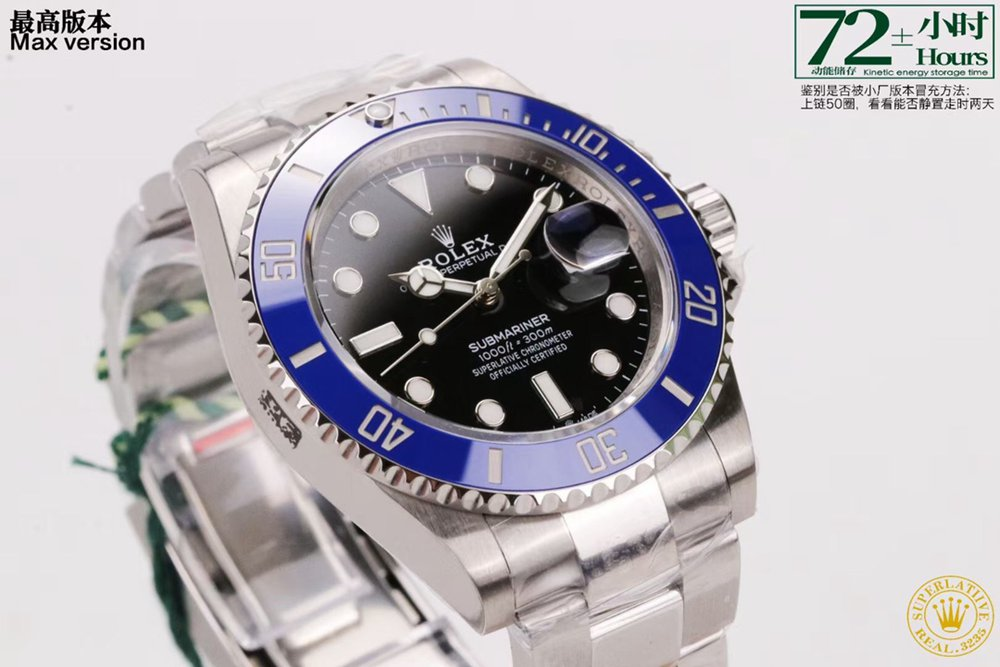 SUB 41mm 2021 VS 3235 movement silver case black dial blue bezel WT210
