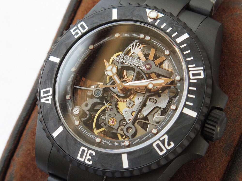 SUB skeleton black case carbon bezel KOF 3130 movement WTxxx