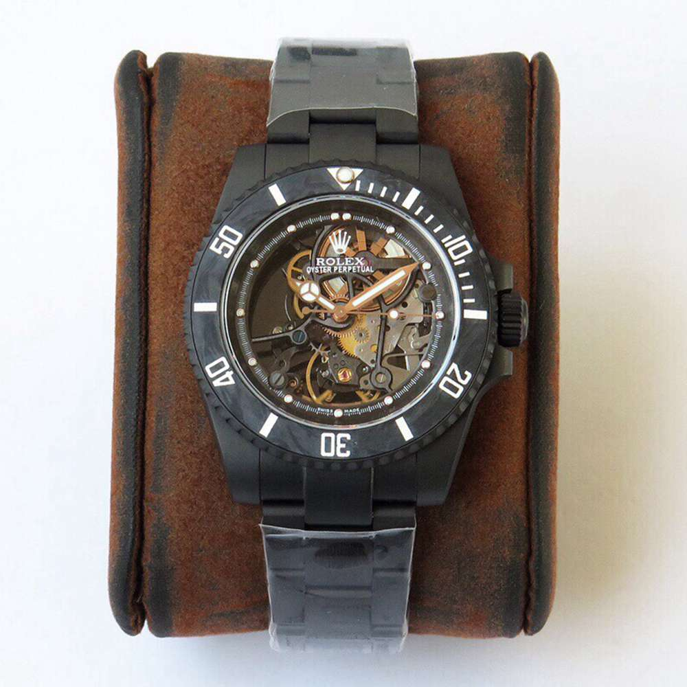 SUB skeleton black case carbon bezel KOF 3130 movement WTxxx
