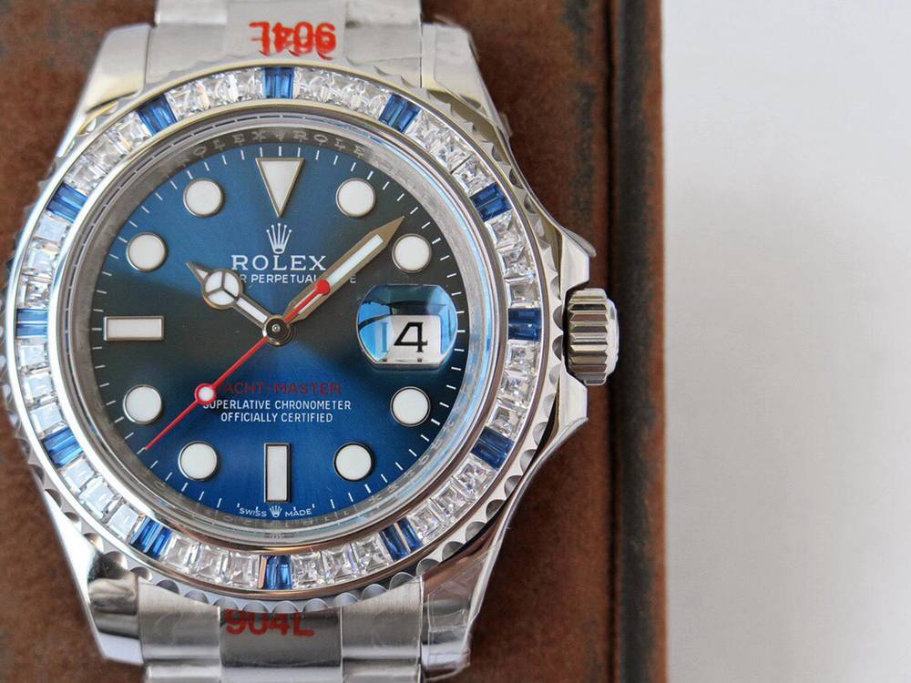 YM 40mm ROF 2020 blue dial baguette stones bezel 904L stainless steel 2824 movement WTxxx