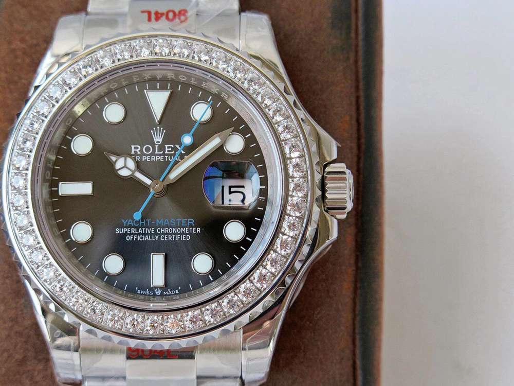 YM 40mm ROF 2020 2824 movement gray dial diamonds bezel WTxxx