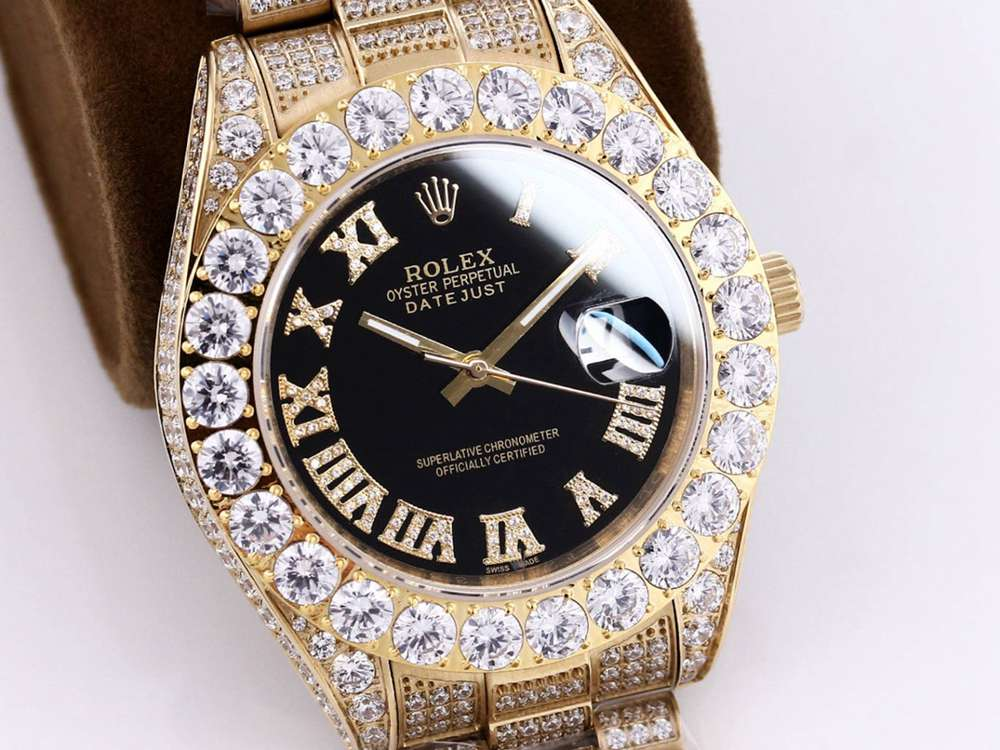 Datejust black dial iced out gold case 43mm M090