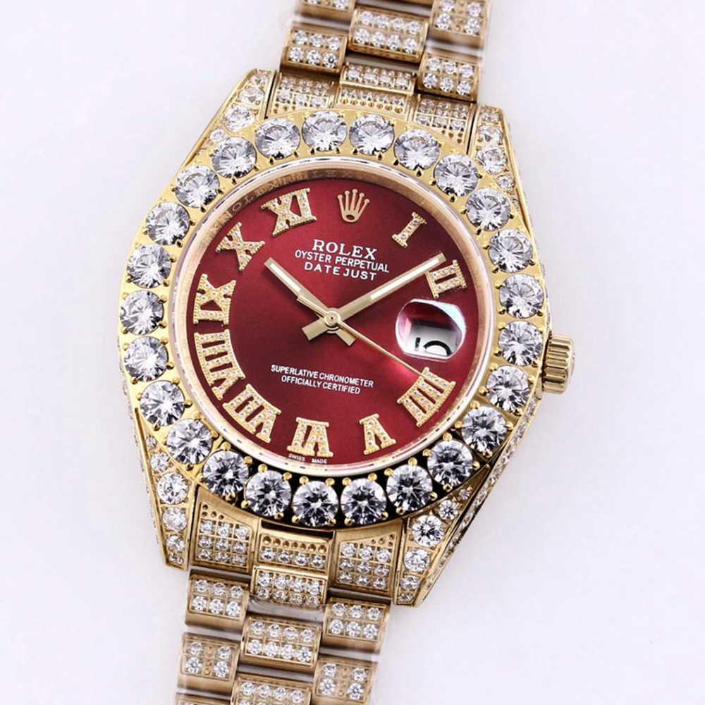 Datejust red face iced out gold case 43mm M090
