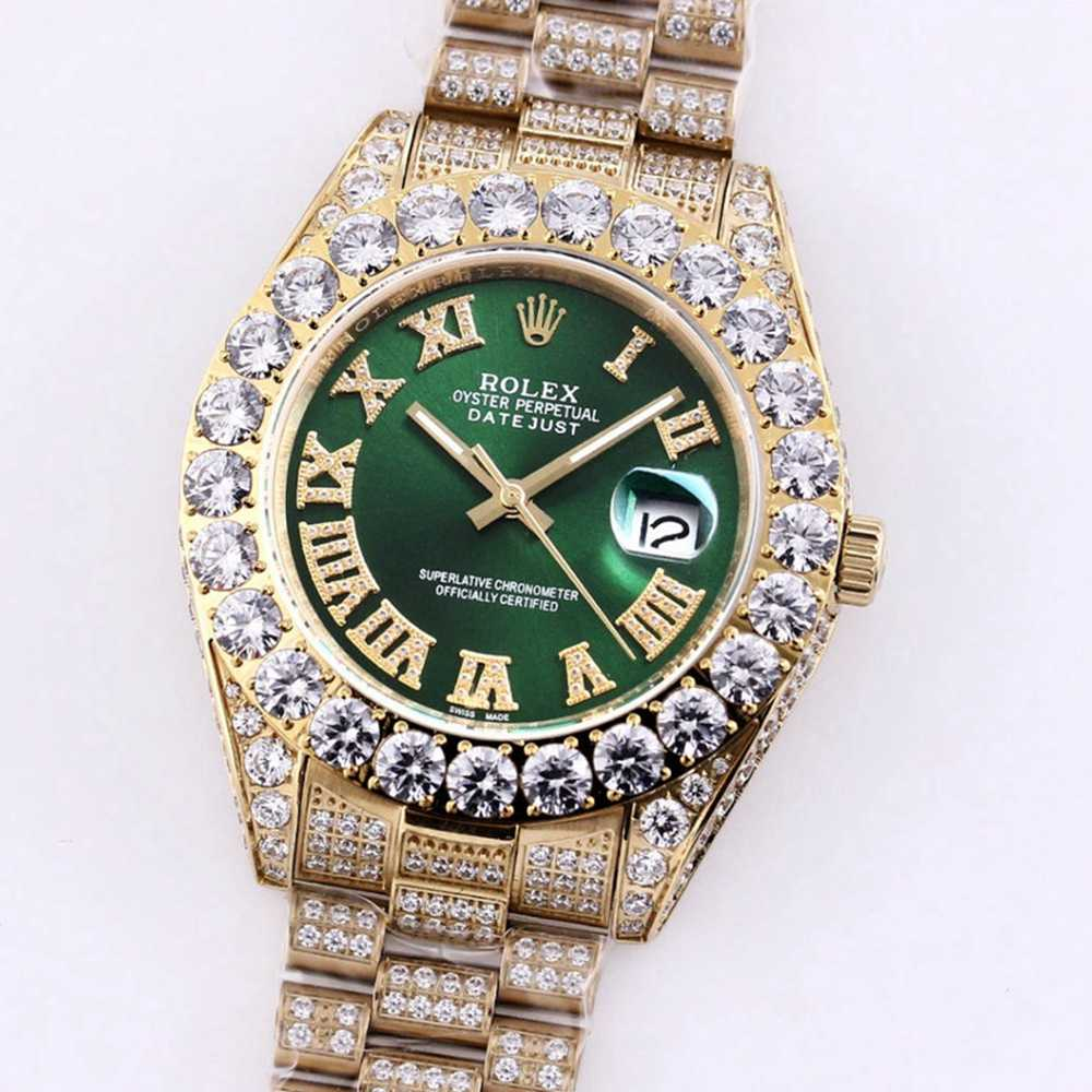 Datejust iced out gold case prongset bezel green dial 43mm M090