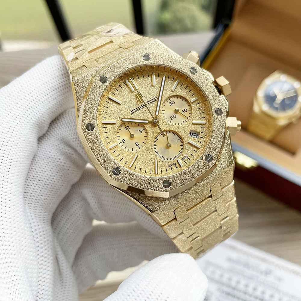 AP frosted yellow gold case 41mm vk quartz men stopwatch WS055