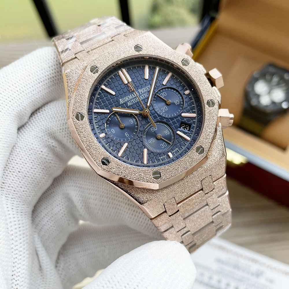 AP frosted case rose gold color black color 41mm VK quartz AAA men stopwatch WS055