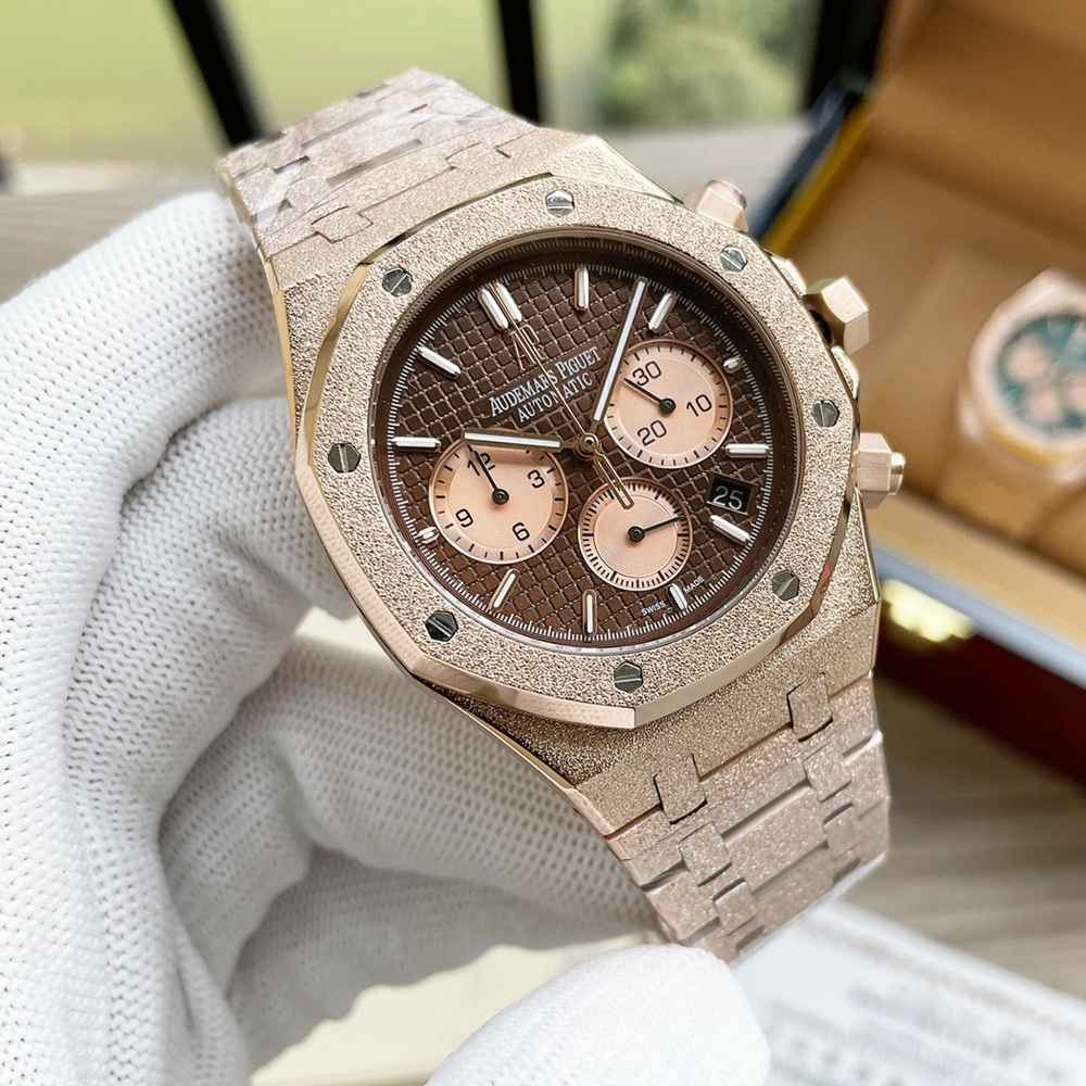 AP frosted rose gold case 41mm VK quartz movement men stopwatch WS055