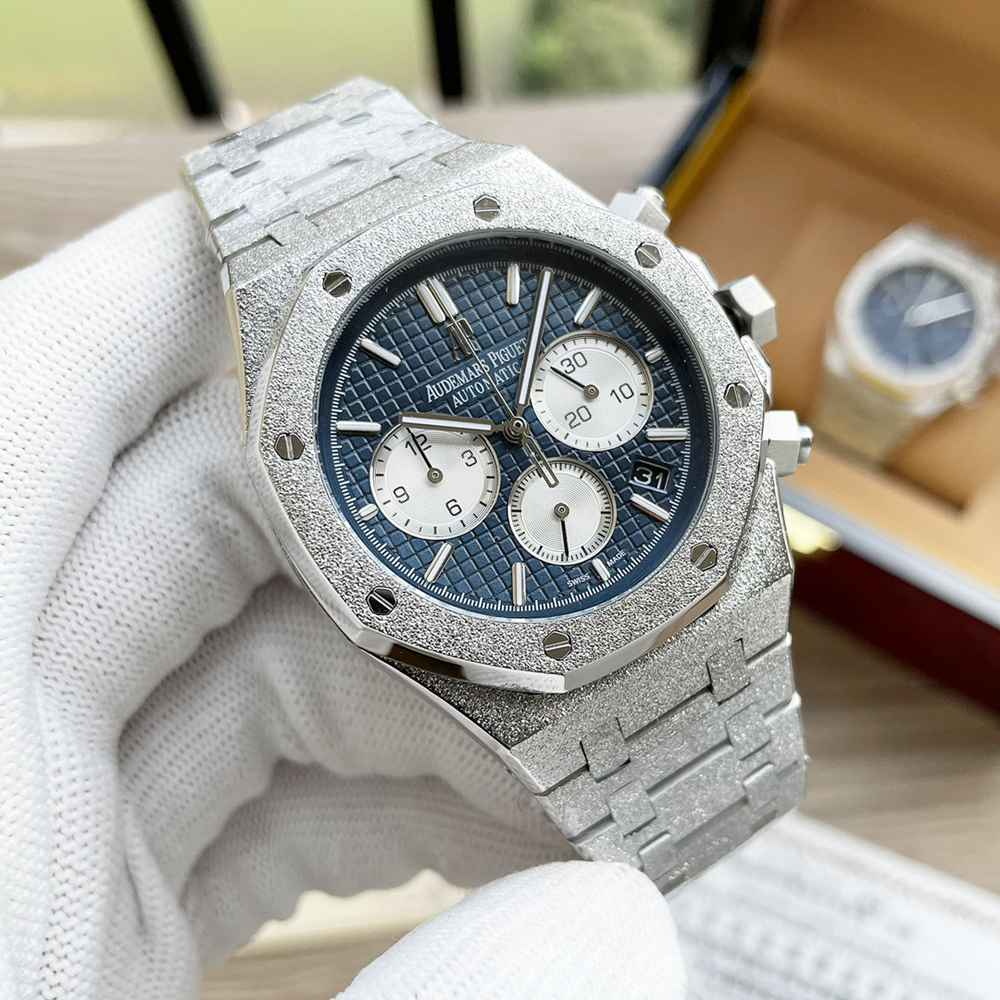 AP frosted silver case 41mm VK quartz AAA stainless steel men watch WS055