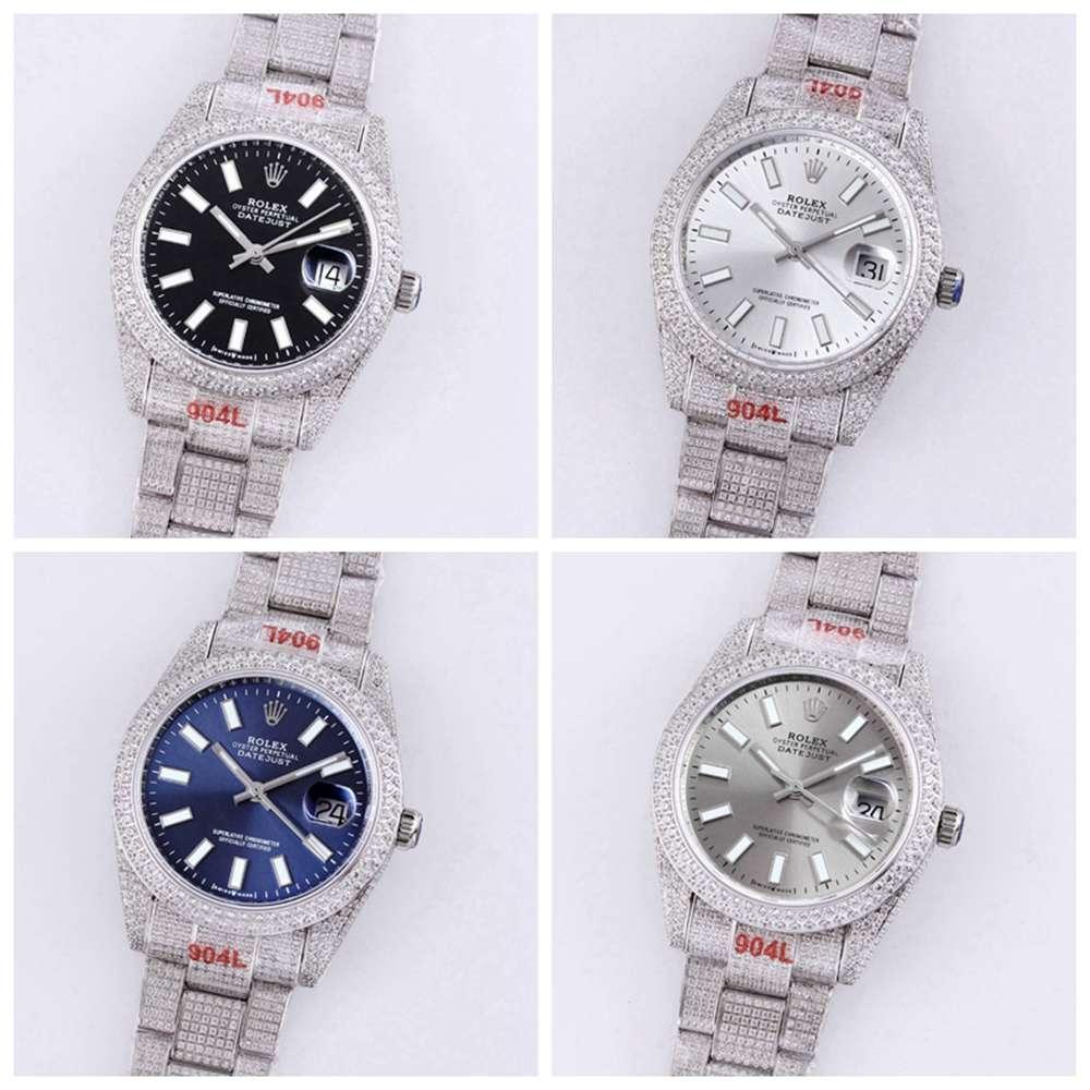 Datejust 39mm regular numbers bust down diamonds black/white/blue/gray M250