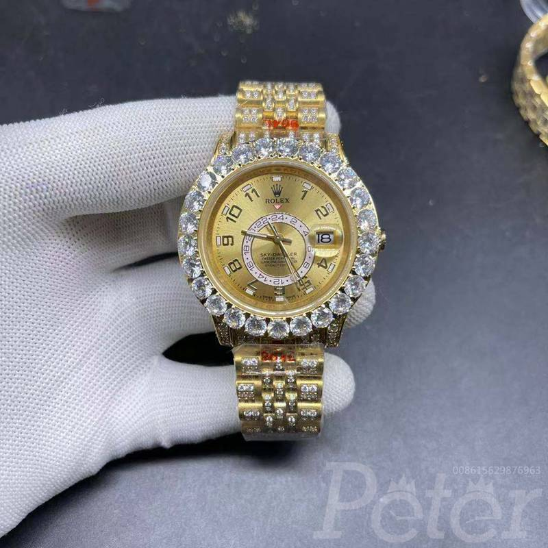Sky-dweller 42mm diamonds gold case gold face jubilee band AAA automatic BL105
