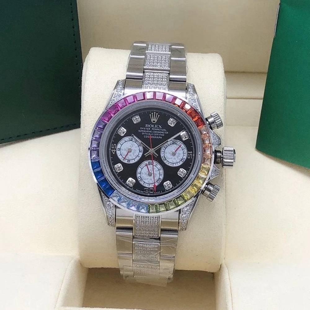 Daytona AAA rainbow silver case black dial 40mm diamonds strap S075