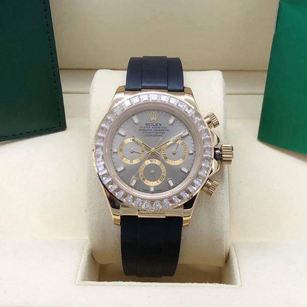 Daytona AAA gold case 40mm baguette stones bezel black/green/white/silver dials Sxxx