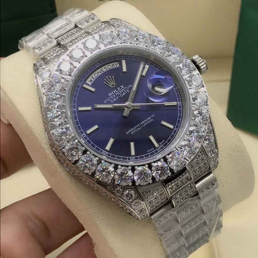 DayDate 43mm full diamonds AAA automatic blue/red/silver/black dials S090