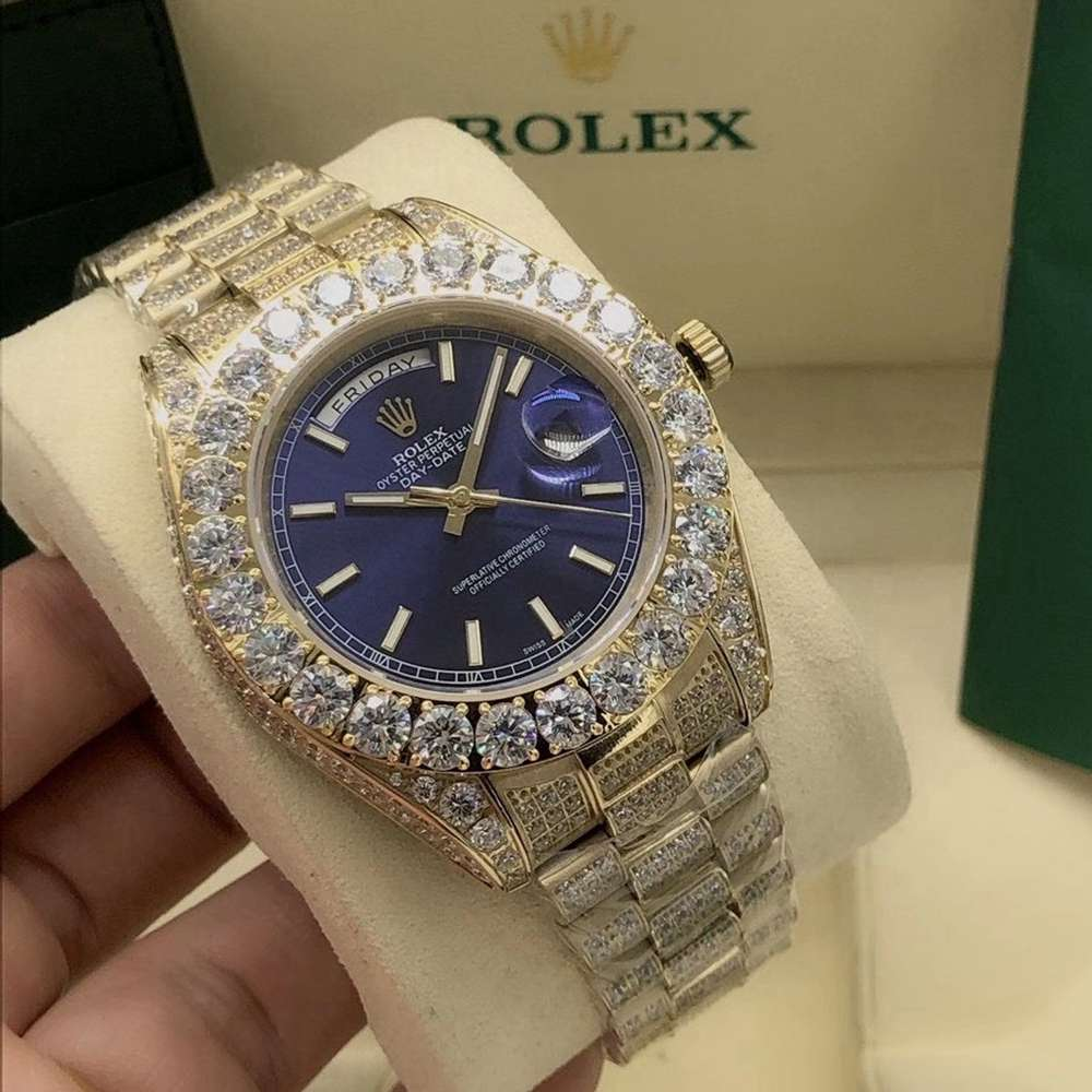 DayDate 43mm diamonds gold case AAA automatic prongset stones bezel S095