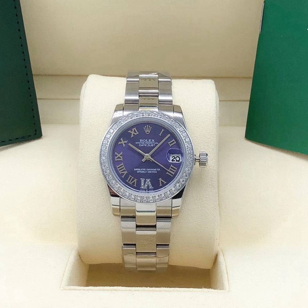 Datejust 31mm women automatic diamonds bezel blue dial roman numbers Sxxx