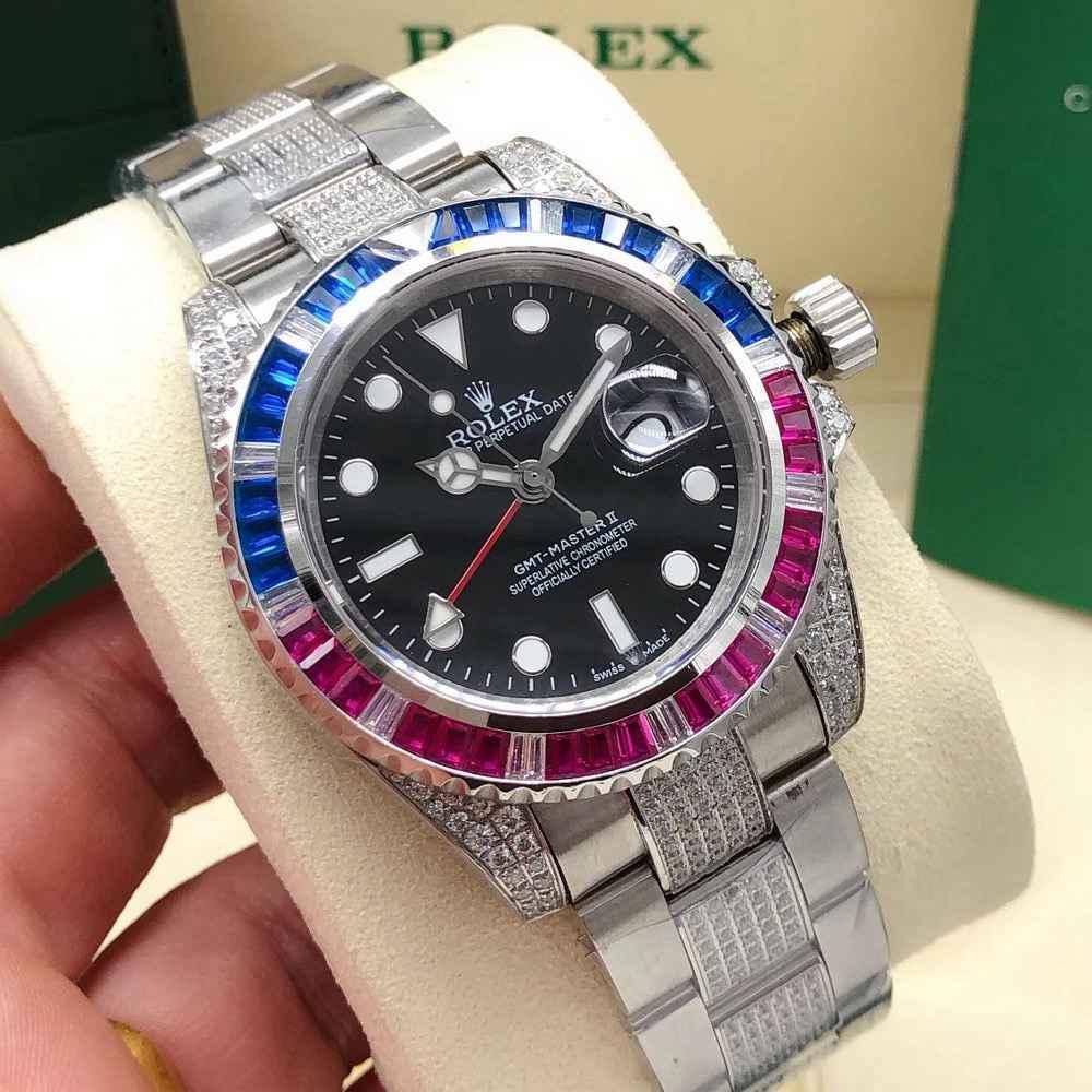 GMT II diamonds bezel 40mm AAA automatic 2813 movement stainless steel men watch Sxxx