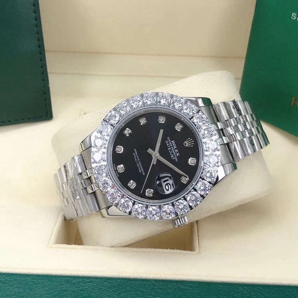 Datejust 43mm automatic prongset diamonds bezel silver case jubilee band black dial Sxxx