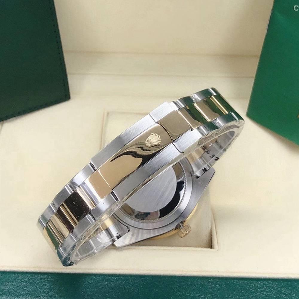 Datejust 2tone gold case 43mm black dial big stones bezel men automatic watch