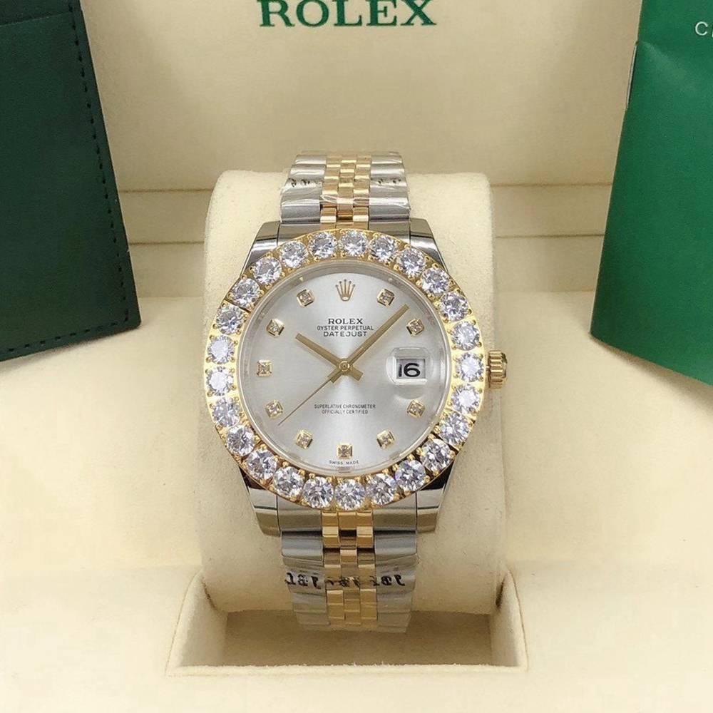 Datejust 2tone gold 43mm silver dial prongset diamonds bezel AAA automatic Jubilee band