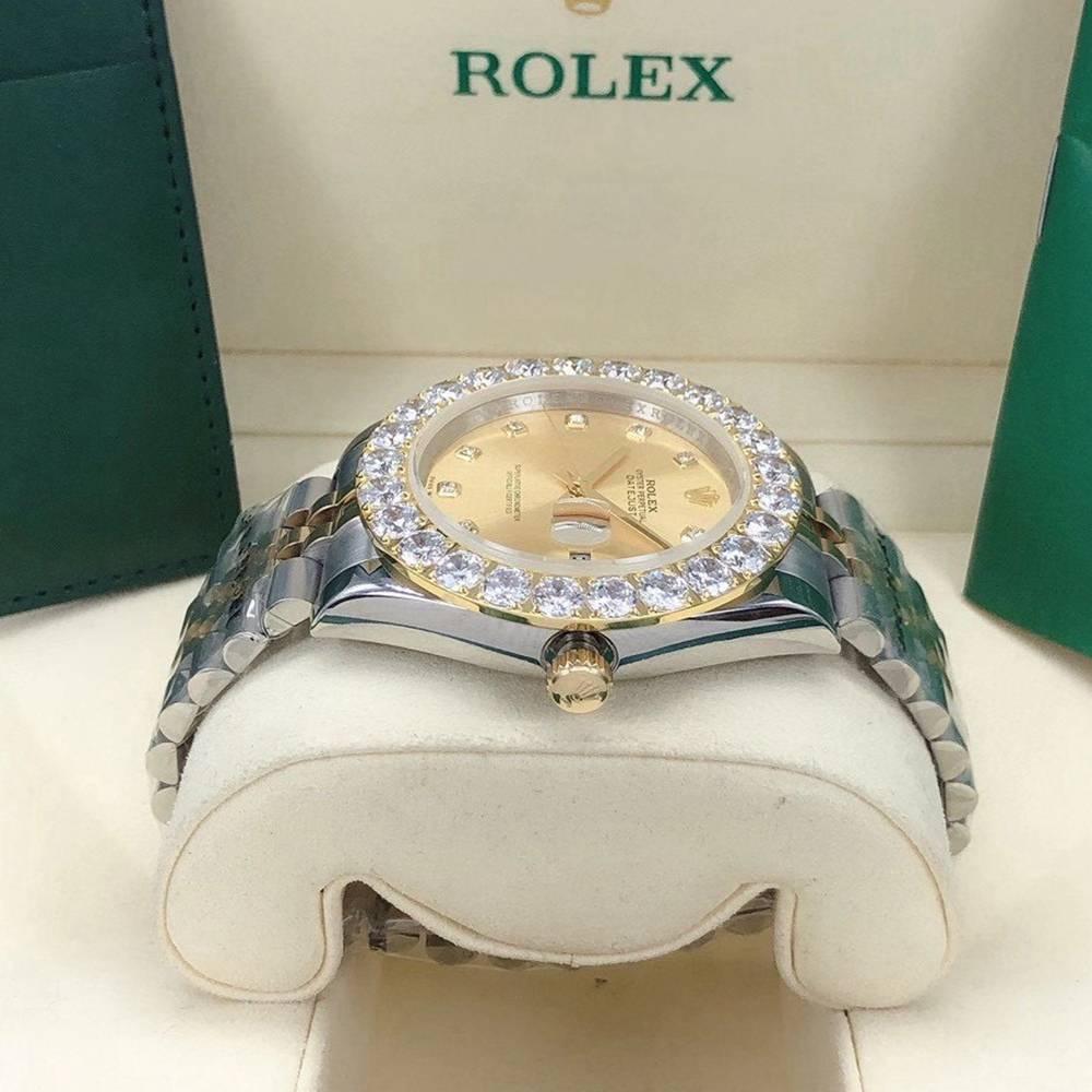 Datejust 2tone gold case 43mm gold face jubilee band prongset stones bezel AAA Rolex watch