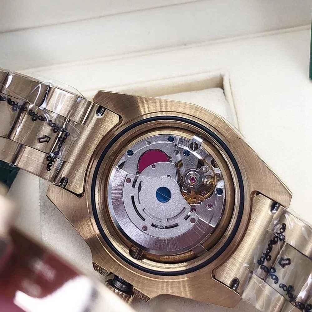 GMT gold case 40mm black dial baguette stones bezel diamonds strap AAA automatic