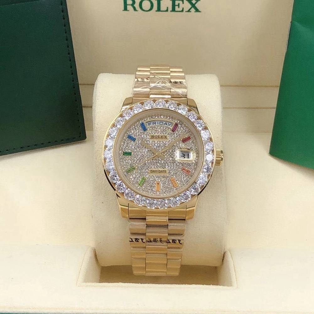 DayDate 40mm two colors rainbow stone numbers diamonds bezel AAA automatic S