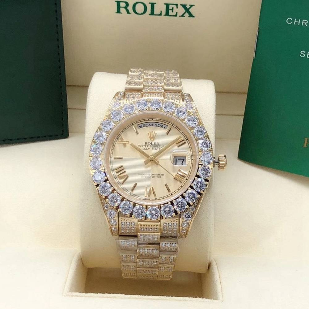 DayDate 43mm iced out gold case AAA automatic prongset bezel zircon stones S