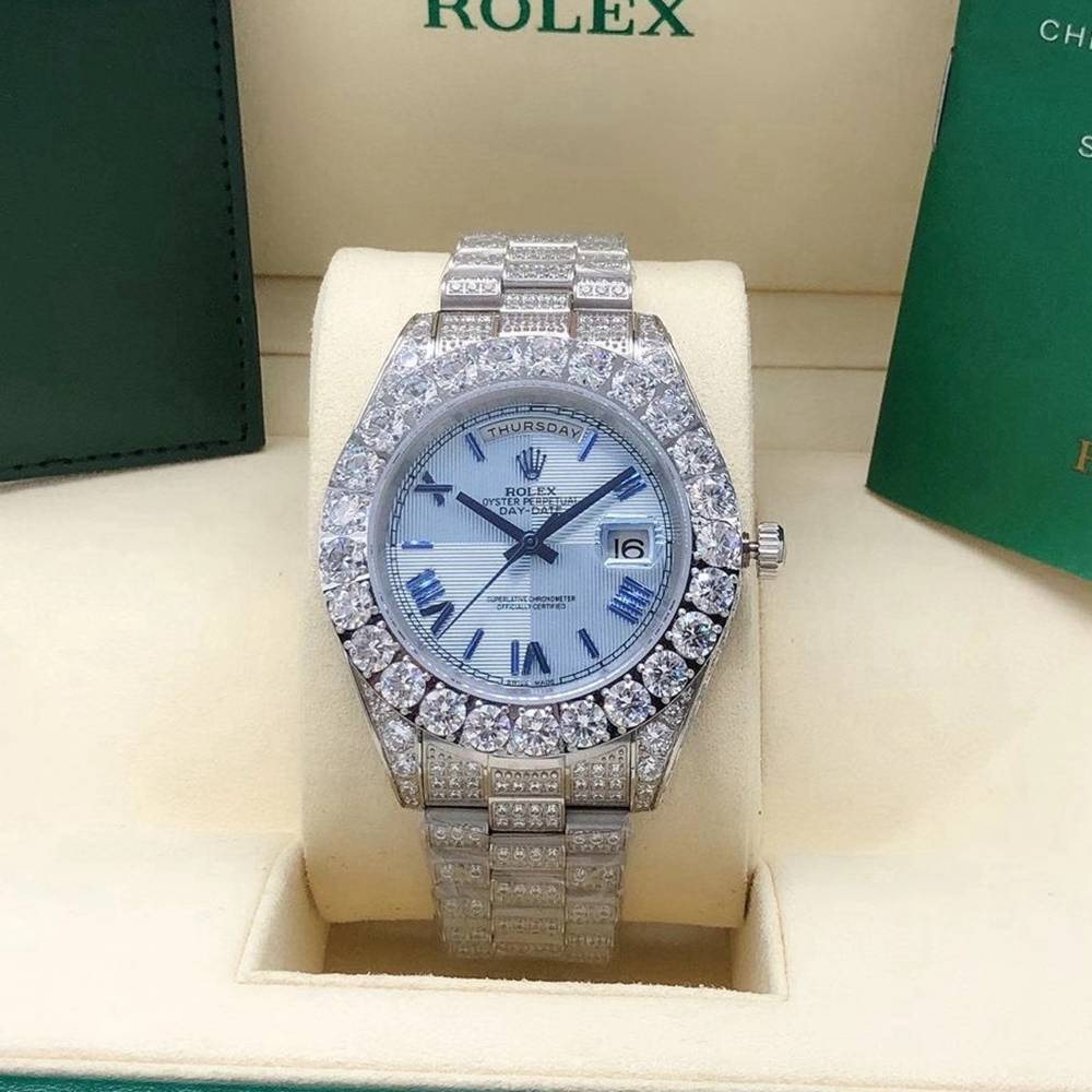 DayDate 43mm AAA full diamonds silver case white blue black dials automatic men watches S