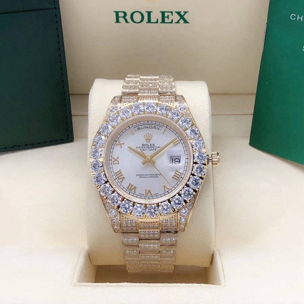 DayDate 43mm full diamonds gold case white/silver/black/gold dials roman numbers S