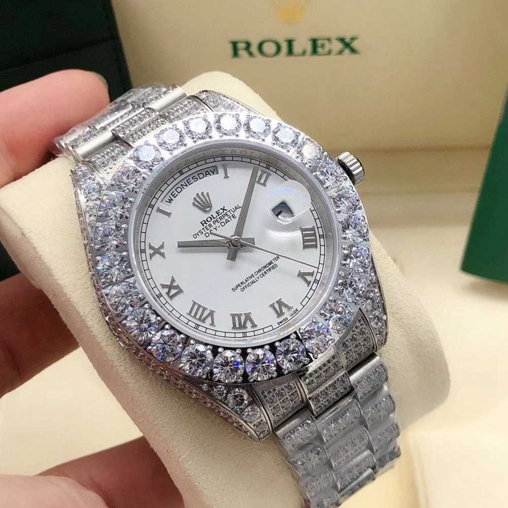 DayDate 43mm silver case black/blue/white dials prongset diamonds bezel AAA