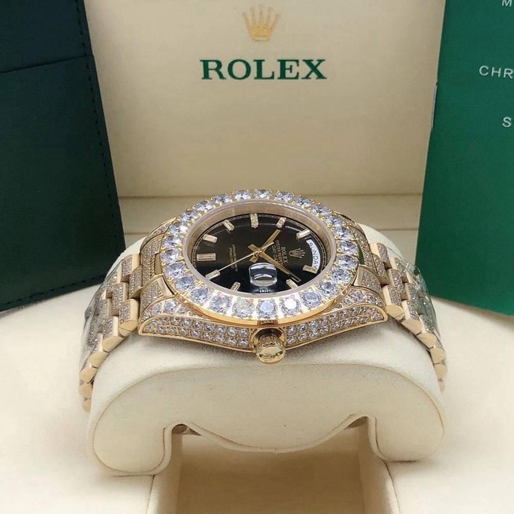 DayDate 43mm full diamonds gold case stone numbers black dial prongset bezel S