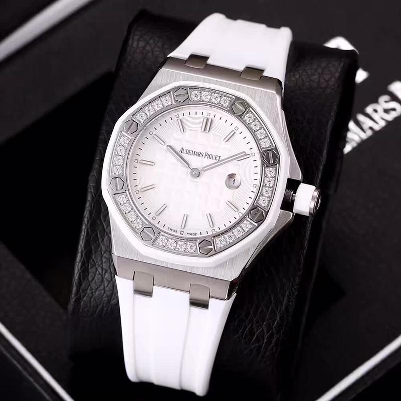 AP quartz women size with rubber strap diamonds bezel XJxxx