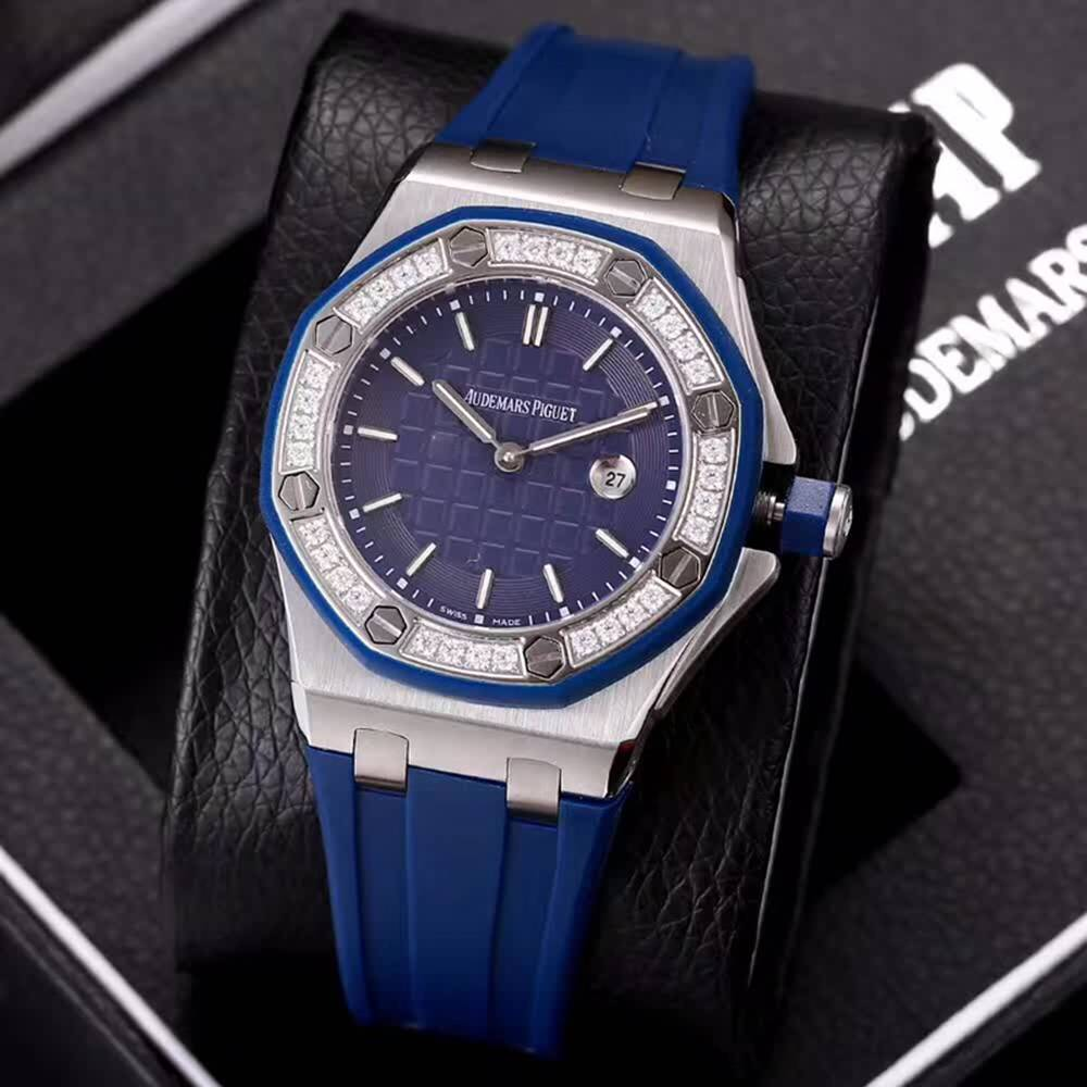 AP lady diamonds bezel 37mm quartz movement rubber strap xjxxx