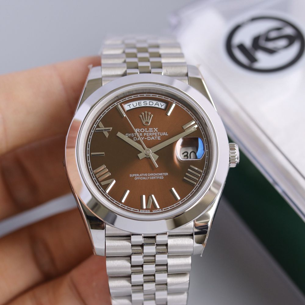 DayDate silver case 39.5mm brown dial jubilee band KS factory 2836 movement