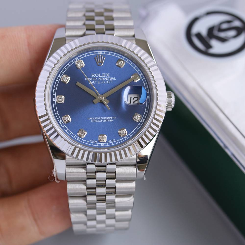 Datejust silver/blue jubilee band 39.5mm KS 2836 movement high grade